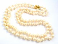 Vintage Double Stranded Hand Knotted Faux Pearl Necklace By Vendome.